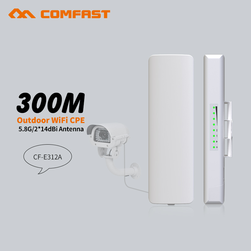 COMFAST 5.8G 300Mbps Wireless outdoor CPE poe wi-fi access point Antenna wi fi router CF-E312A Amplifier repetidor wifi receiver comfast 300mbps 5 8g wireless outdoor wifi long range cpe 2 14dbi antenna wi fi repeater router access point bridge ap cf e312a