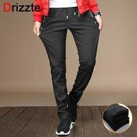 Drizzte Mens Winter Fleece Stretch Zipper Pocket Casual Pants Flannel Lined Black Grey Trousers Casual Slacks