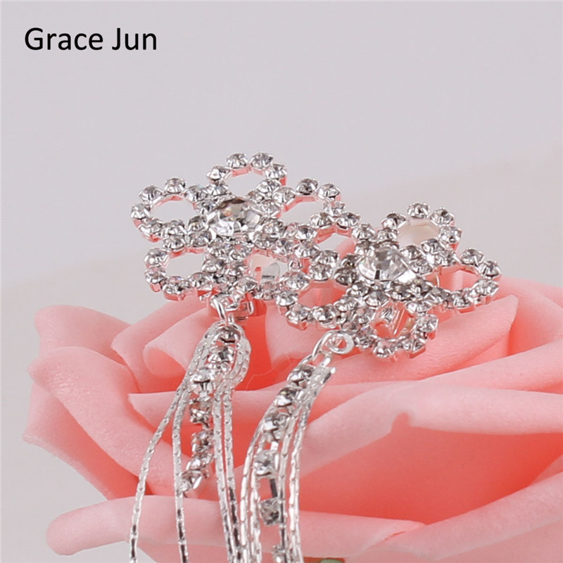 Grace Jun (TM) nouvelle mode fleur glands strass Clip sur boucles - Bijoux fantaisie - Photo 3