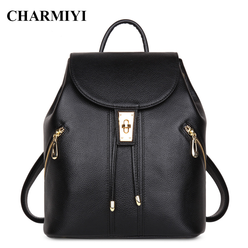CHARMIYI 2017 Famous Brand Real Leather Women Backpacks Teenage Student School Bags for Girls Casual Cover Travel Backpack
