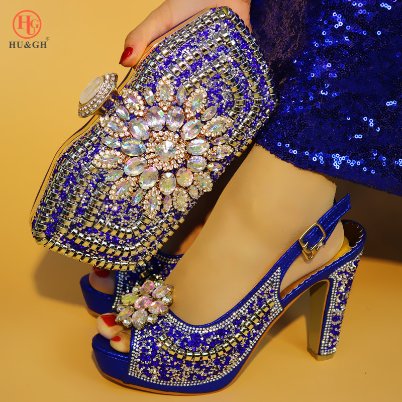 New Gold High Heel Nigerian Party Shoe and Bag Sets Decorated With Rhinestone Italian Wedding Shoes And Bag African Woman Shoes