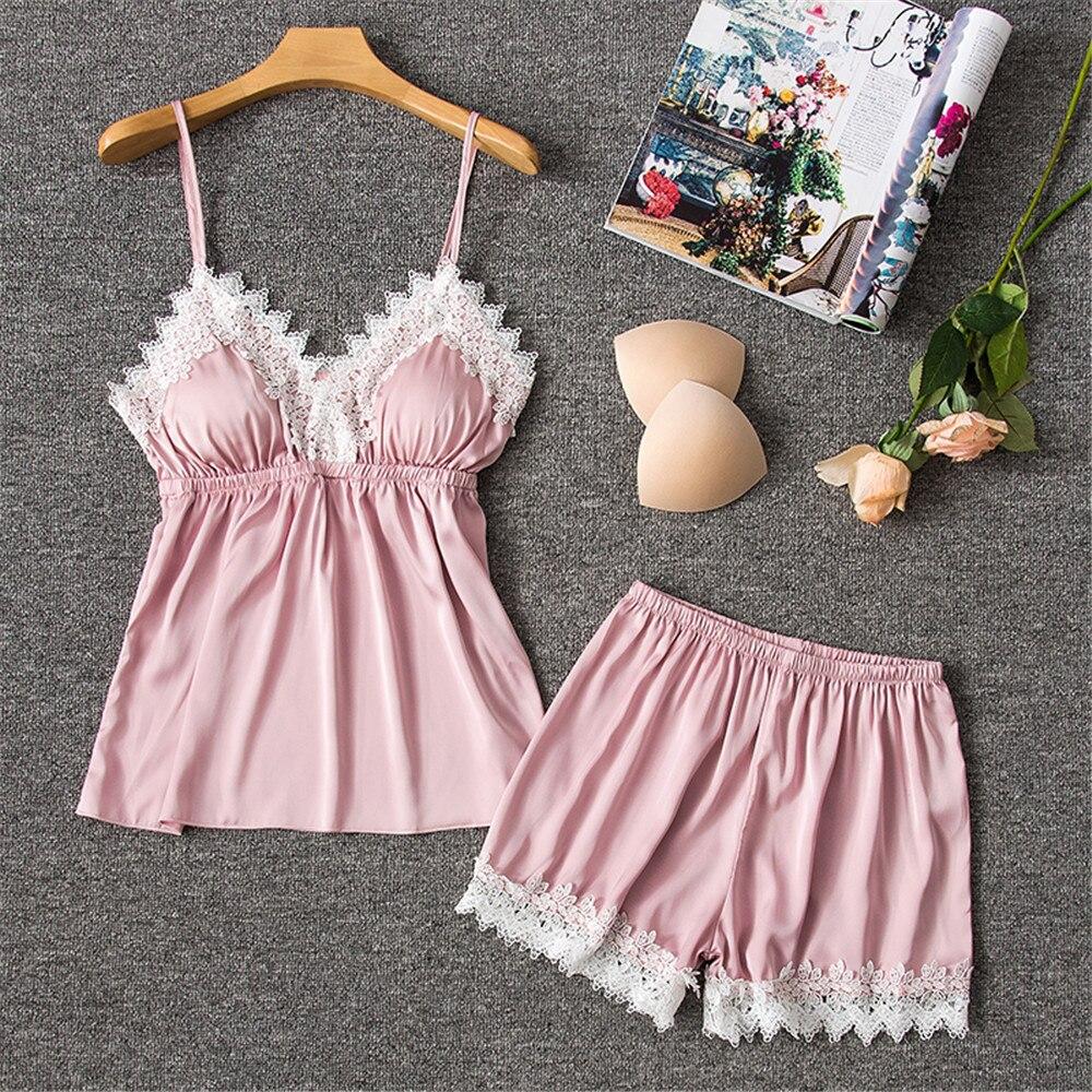 Daeyard Silk Pajamas Sets Women Summer Sleepwear Sexy Lace Patchwork Lingerie Cami And Shorts 2Pcs Satin Pyjamas Home Clothes
