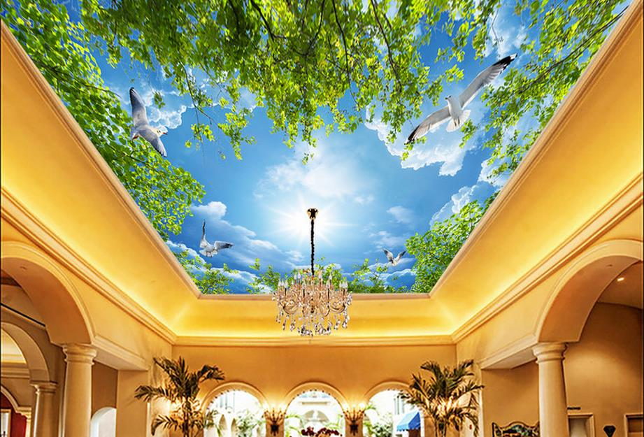 custom 3d ceiling Baiyun sunshine sky ceiling murals wallpaper 3d ceiling wall papers home decor living room 3d sky ceiling custom 3d stereo ceiling mural wallpaper beautiful starry sky landscape fresco hotel living room ceiling wallpaper home decor 3d