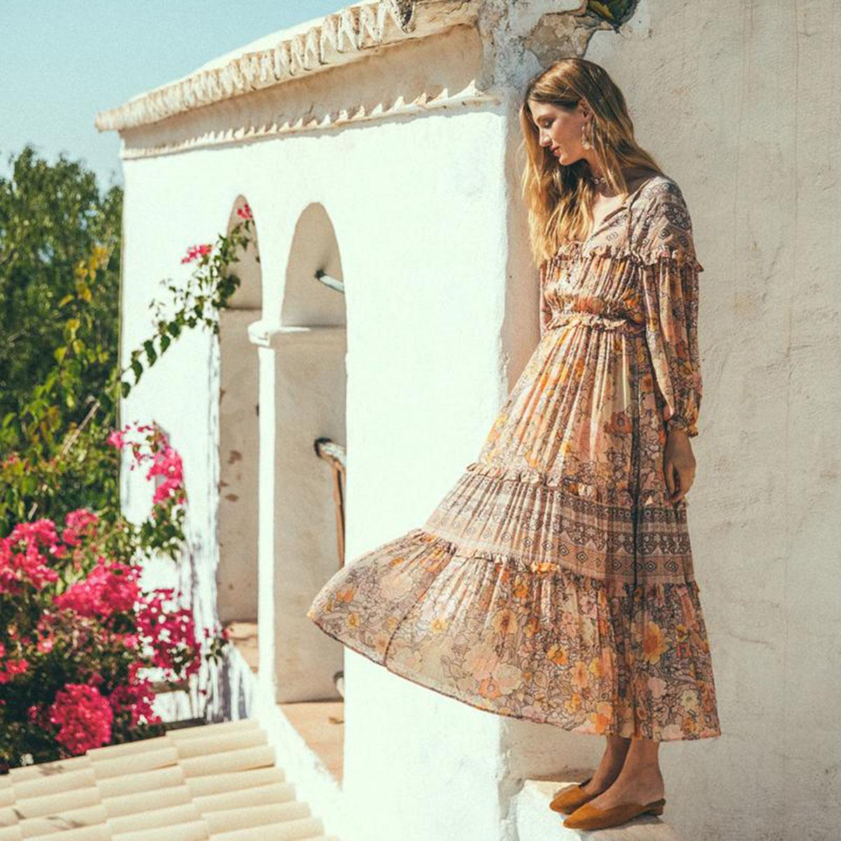 Volants Floral robe d'été automne à manches longues col en V Vintage robe 2019 vêtements d'été Boho plage Hippie fête robe d'été