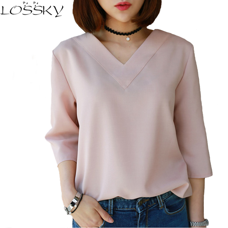 Chiffon   Blouse     Shirt   Women Fashion Female Clothing Three Quarter Sleeve   Shirt   Sexy V-neck Summer Office Tops cheap clothes china