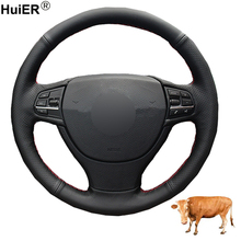 Hand Sewing Car Steering Wheel Cover Top Layer Cow Leather Volant Funda Volante For BMW F10 523Li 525Li 2009 730Li 740Li 750Li