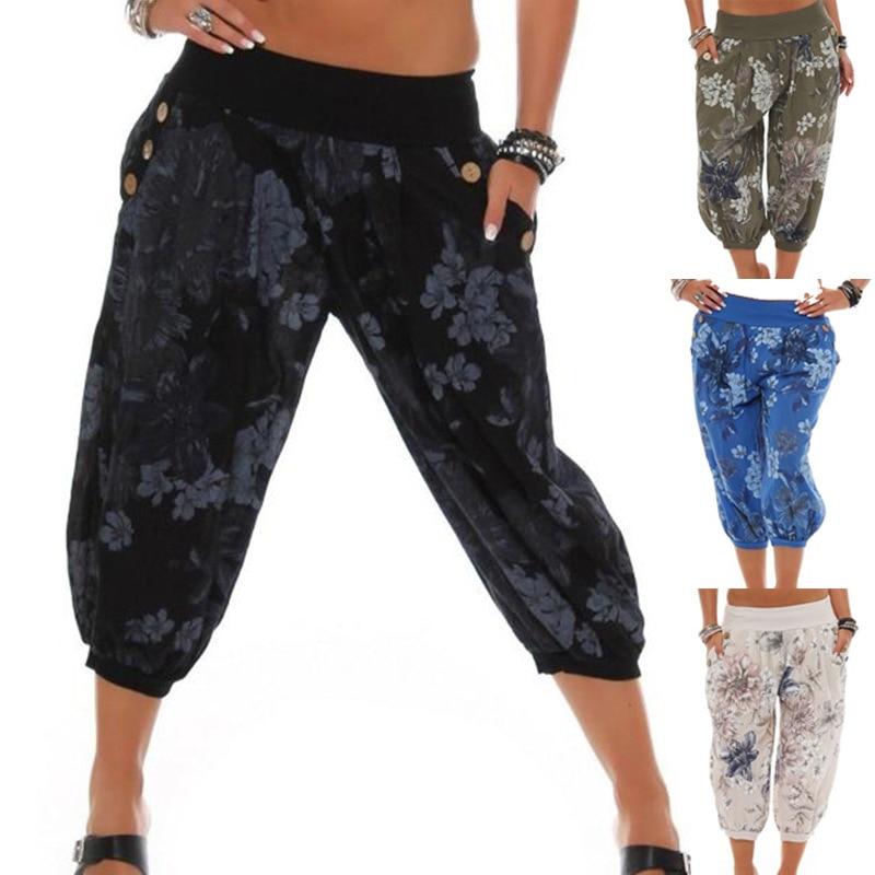 ZOGAA Women's Bohemian Printed Full Length   Pants   Chiffon   Wide     Leg     Pants   For Woman Loose Plus Size Casual Beachwear Streetwear