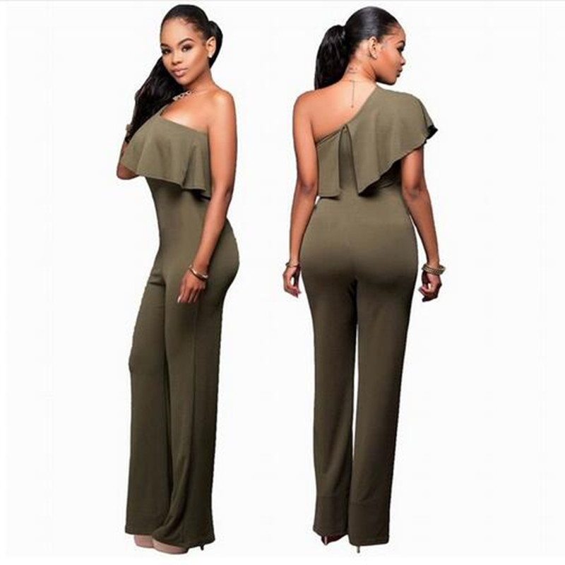 Aletterhin Women Cowl Neck Wide Leg Jumpsuit Black Green One Shoulder Ruffles Long Coverall Plus Size Macacao Feminino Longo 3XL