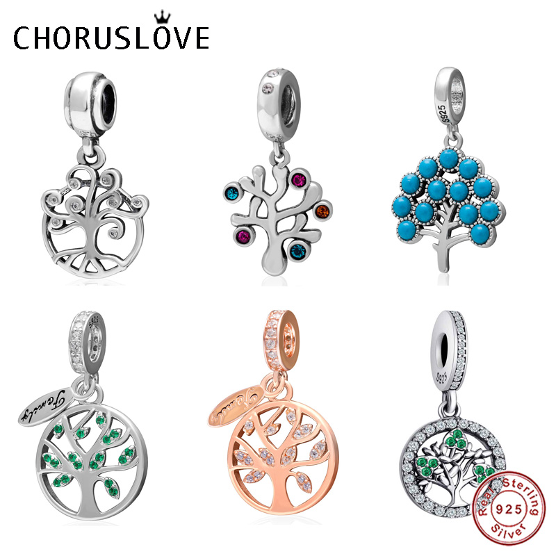 Choruslove Family Tree Dangle Charm 925 Sterling Silver Household Bead fit Pandora Charms Love Series DIY Bracelet Jewelry