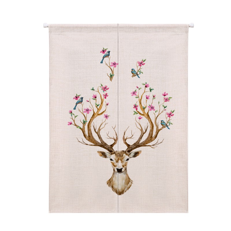 Soft Doorway Curtain Japan Style Deer Pattern Polyester Fiber Bathroom Kitchen Screens Room Dividers Decor Home Textile In From