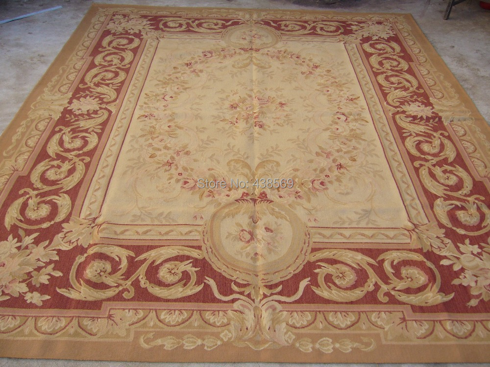 Gratis forsendelse Aubusson-tæpper 10'x14 'Blomsterdesign til - Hjem tekstil