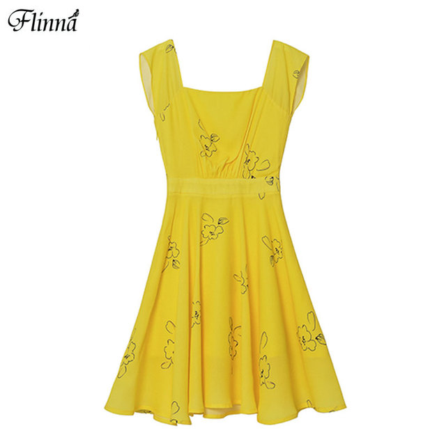 2017 Summer New Arrival Womens Fashion Flora Print Sleeveless Bohemian Yellow Knee-Length Party Dresses Women