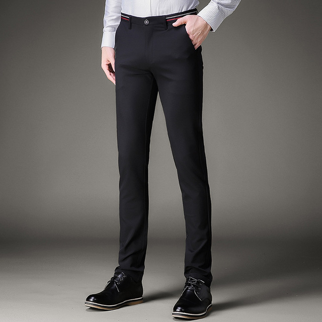 c76db529189 Jbersee Men Dress Pants Formal Pants Slim Fit Suit Pants Business Casual  Wedding Men Black Mens Dress Trousers perfume masculino