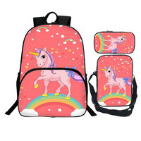 3 Pcs Set girl unicorn school bag Student Zipper Backpacks School Bag Teenager Girls Book pencil bags Unicorns For Child