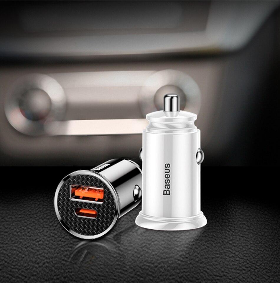 Baseus Fast Car Charger Dualport USB A+C [BS-C16C1] Pakistan brandtech.pk