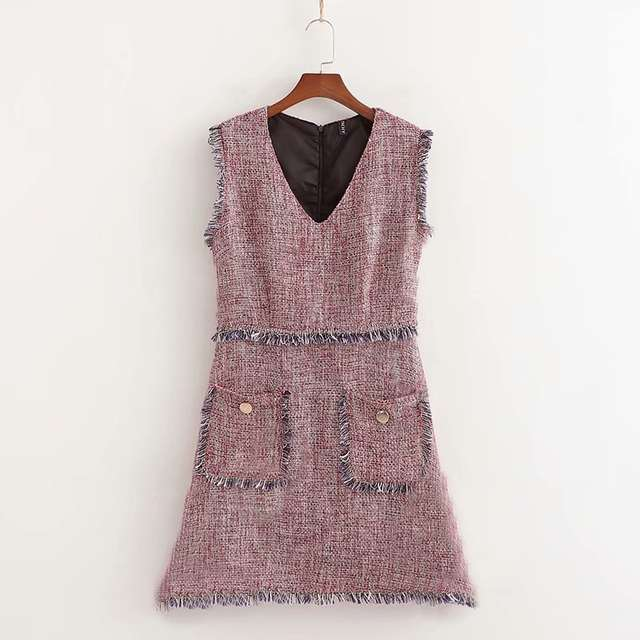 a0bb0219d60a7 JuneLove Women Spring Sleeveless Tweed Dress Vintage Sexy V-Neck Female  Mini Dress Street Wear Lady Pockets Retro A-Line Dress