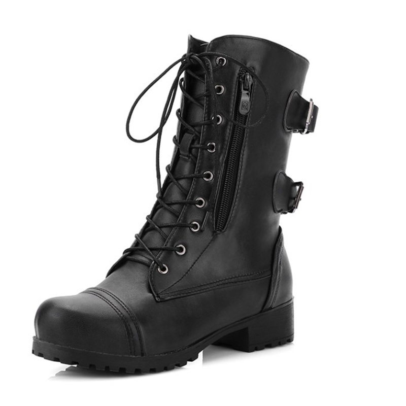 цена Martin Boots Block Heels Mid Calf Boots Punk Buckle Women Shoes Black Coffee Lace Up Fashion Ladies Gothic Boots Plus Size 43