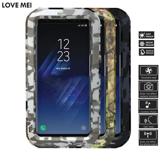 competitive price 8443e 8e868 US $35.72 6% OFF LOVEMEI Camouflage Heavy Duty Case for Samsung Galaxy S8  Plus Cover Defender Armor Metal Aluminum Alloy Case for Galaxy S8 Cover-in  ...