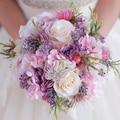Nueva Hermosa Rosa Púrpura Ramo De La Boda Todo Hecho A Mano Nupcial Flor Hydrangea Artificial Peony Ramos de Rose de la mariposa Broche