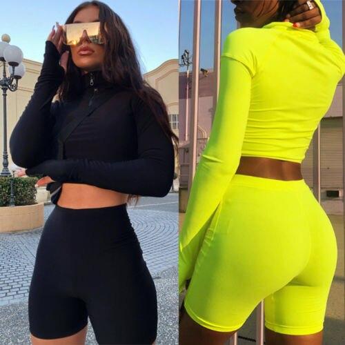 Women Tracksuits Long Sleeves Crop  1