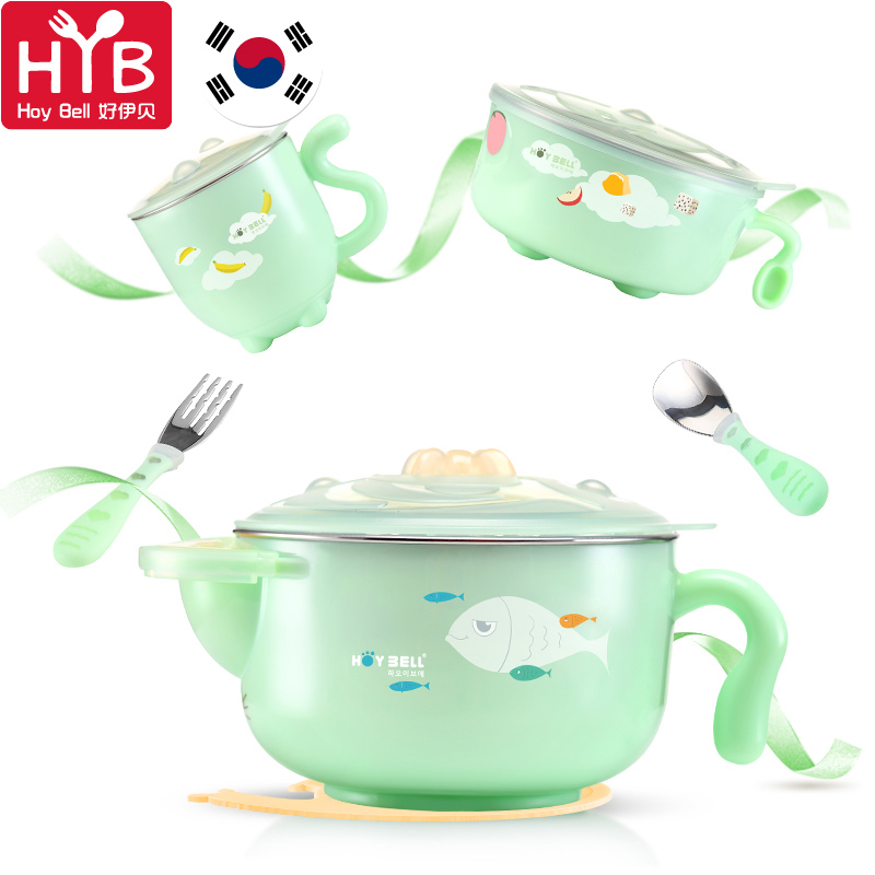 Children bowl Spill proof bowl  stainless thermo baby cup  baby spoon bowl learning Dishes set assiette bebe Hoy bell 6 pcs/set new children tableware bpa free plastic baby food set kids dinnerware plate bowl cup fork spoon infant dishes for toddlers baby