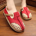 Fashion Original Design Hemp Women's Vulcanize Shoes Female Summer Breathable Cutout Handmade Knitted Network Single Shoes