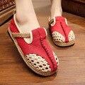 Vulcanizan Los Zapatos de Cáñamo de Las Mujeres de moda Diseño Original Femenino Del Verano Respirable Del Recorte Hecho A Mano de Punto de Red Solos Zapatos