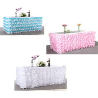 Drape Pleat Tulle Wedding Table Skirt Tulle Tutu Table Skirt Tableware Party Baby Shower Birthday Wedding Decorations 275*80 cm