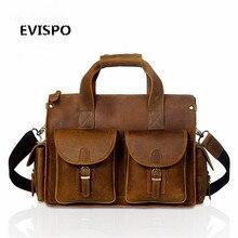 EVISPO Legend Cow Leather Messenger Bag Genuine Leather Briefcase For Man Laptop Bags Men's Shoulder Laptop Travel Bags 2017