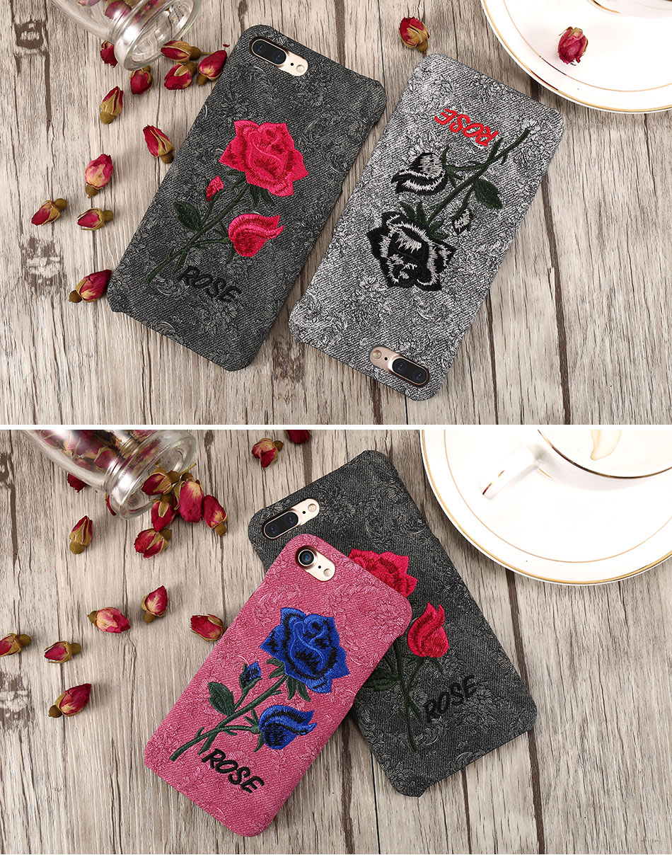 KISSCASE Beautiful Rose Flower Cover For Apple iPhone 6 6S Plus 7 7 Plus Case Fundas Coque Embroidery Pattern For iPhone 6 7 6S (10)