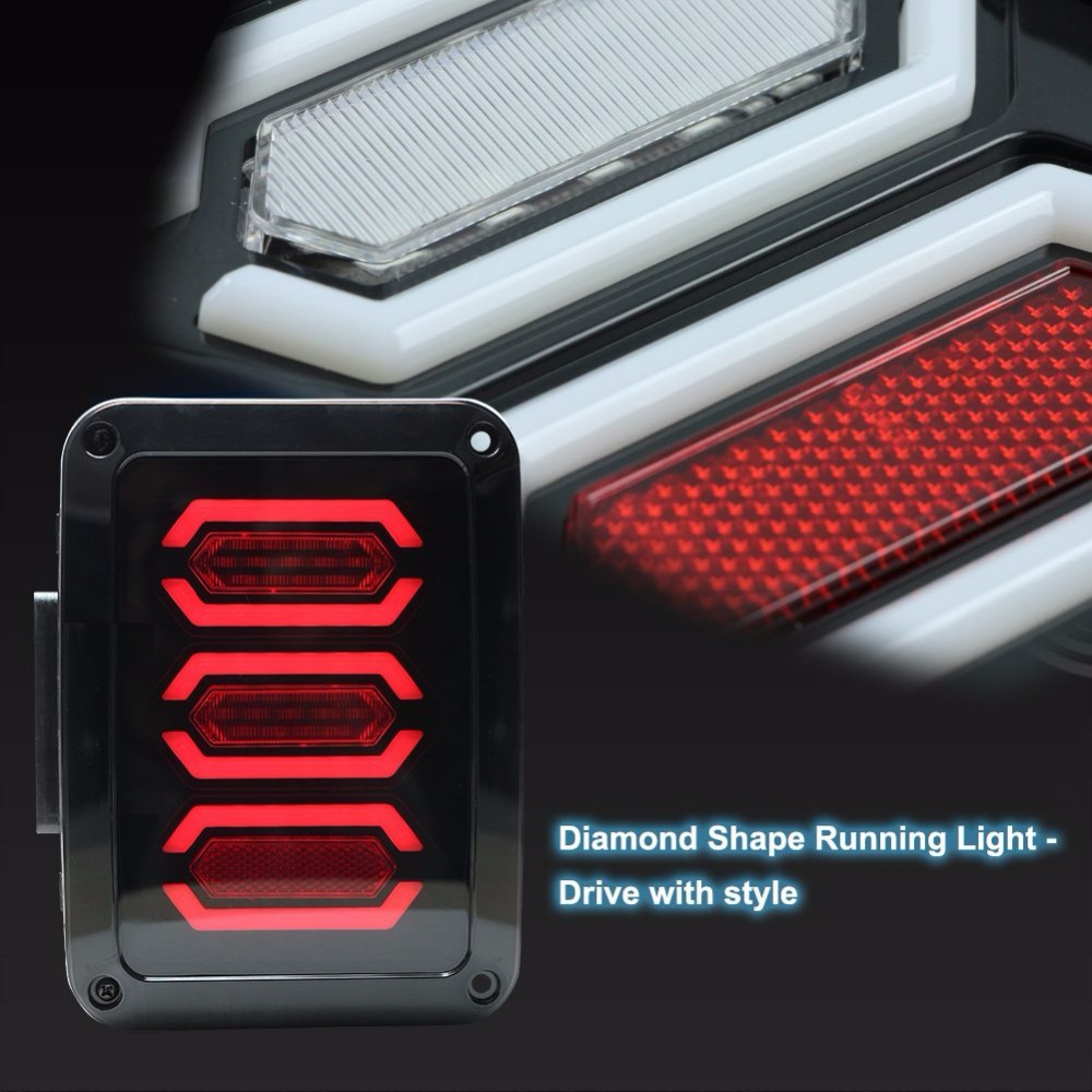 Diamond Series LED Tail Brake Light Assembly w Turn Signal Back Up For Wrangler JK JKU