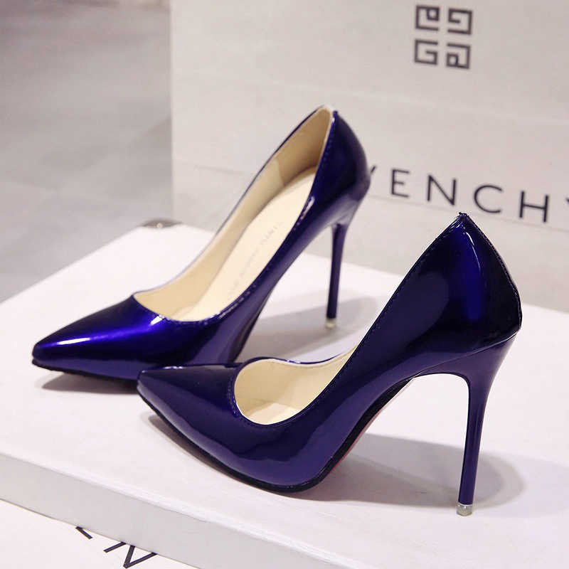 2018 Hot Nữ Giày Nữ Mũi Nhọn Bơm Bằng Sáng Chế Áo Da Cao Gót Xuồng Cưới Zapatos Mujer Xanh Dương Rượu Vang Đỏ Nữ xanh Dương