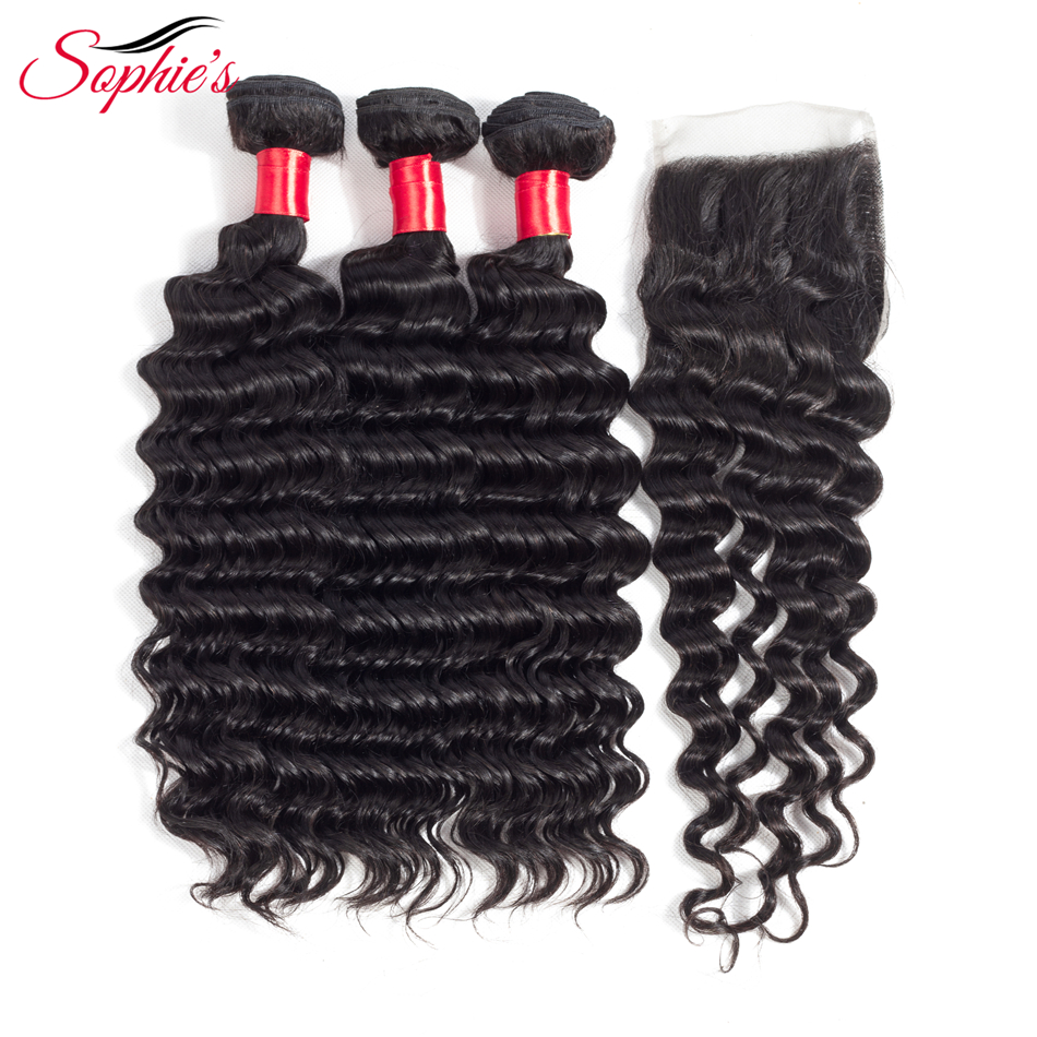 Sophie's Deep Wave Bundles With Closure Brazilian Hair Weave Bundles Non-Remy Human Hair Bundles With Closure Extension