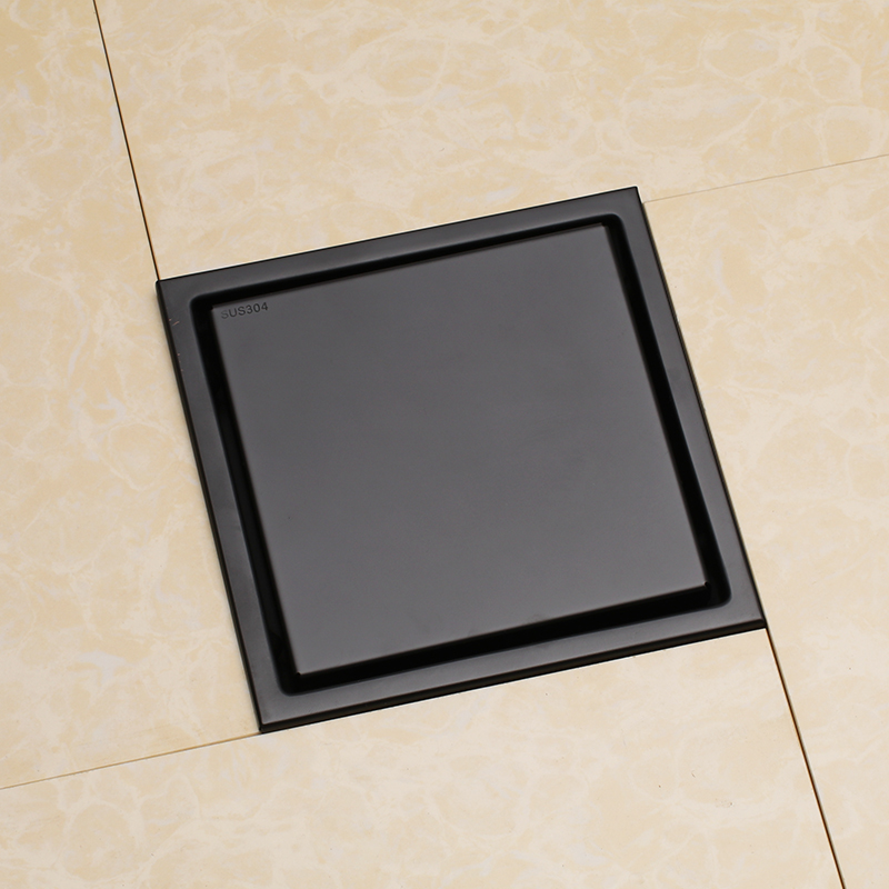 Popular Black Square Shower Floor Drain with Tile Insert Grate 6 inch 150*150mm , Multipurpose , Invisible Look or Flat Cover