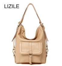 hot deal buy genuine leather solid backpack female  fashion casual totes adjustable straps shoulder messenger for cosmetic travel ladies  bag