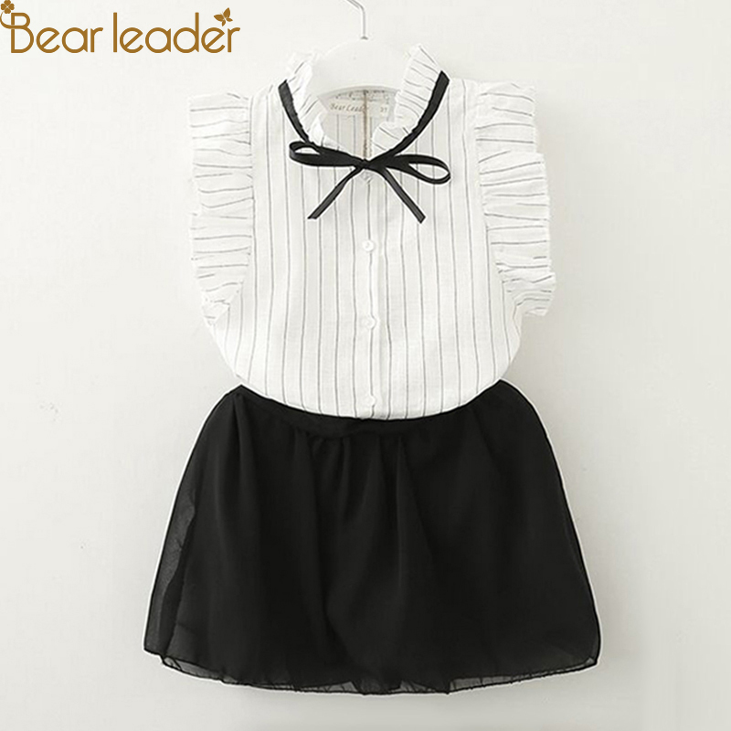 Bear Leader Girls Sets 2018 New Brand Summer Kids Clothes Fly Sleeve Striped Shirt +Cute Skirt Pants 2Ps Girls Clothing For 2-6Y bear leader girls skirt sets 2018 new autumn&winter geometric pattern long sleeve sweater skirt 2pcs knitwear sets for 3 7 years