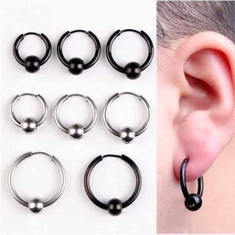 1067aa95c YIXI Hoop Earrings Stainless Steel Punk Men Earrings Ball Pendant Circle  Ring Earring Piercing Jewelry Earrings