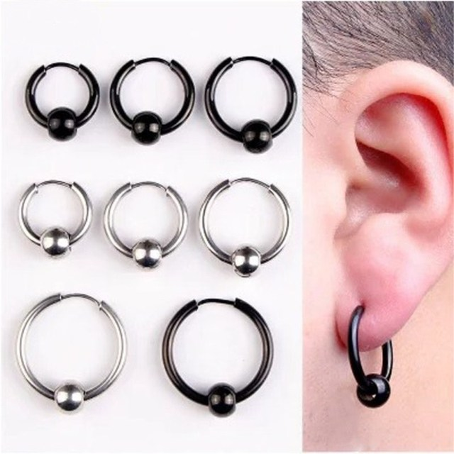 Yixi Hoop Earrings Stainless Steel Punk Men Ball Pendant Circle Ring Earring Piercing Jewelry