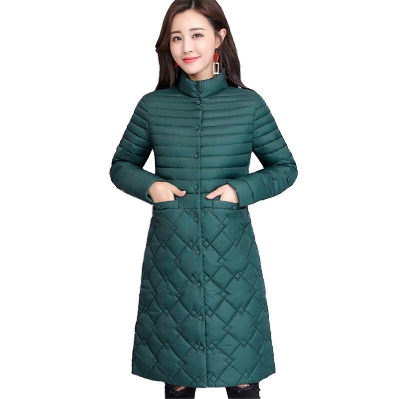 Autumn winter light Thin   parkas   women cotton jacket Stand collar Plus size 4XL Slim female warm long Cotton-padded jacket N253