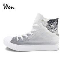 6dc888830b9b Wen Original Hand Painted Canvas Shoes High Tops Pet Cat Custom Design  Graffiti Painting Gray Color Sneaker Women Men