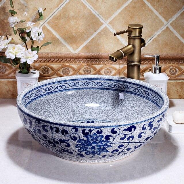 US $277.0 |Kunst Waschen Schüssel Runde Waschbecken Lavabo Zähler top  Waschbecken Schiff blau und weiß handgemachte keramik waschbecken  Badezimmer ...