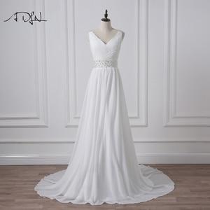 Image 4 - ADLN 2020 Strand Hochzeit Kleider V ausschnitt Böhmischen Chiffon Perlen Braut Kleid Nach Maß Brautkleider Vestidos de Novia