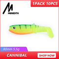 MEREDITH New arrival JX62-08 Hot Model 10PCS 5.5g 8cm Fishing Lures Soft Cannibal Shad 3D Fish Lifelike Lures Free Shipping