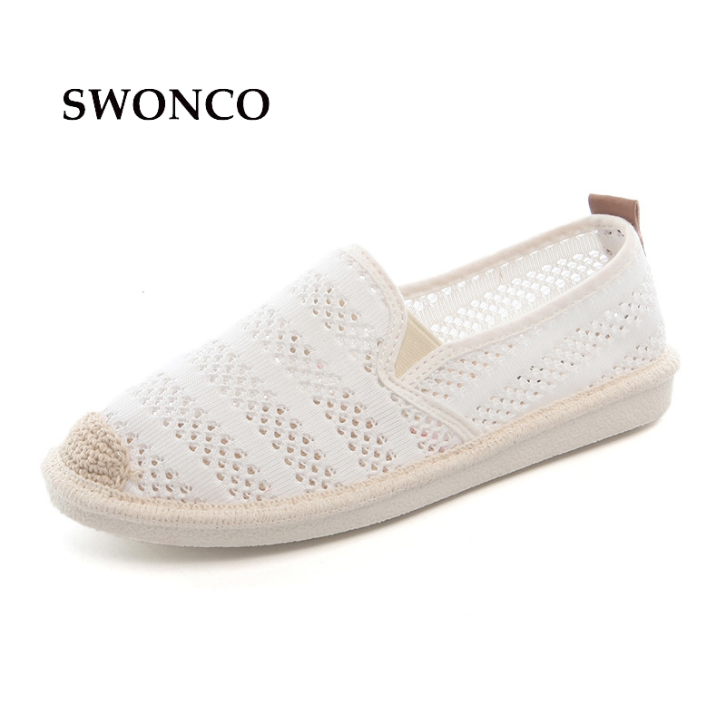 SWONCO Women's Flats Shoes Breathable Hollow Out Fisherman Shoes Spring Summer Shoe Women Slip On Loafers Female Casual Shoe spring summer flock women flats shoes female round toe casual shoes lady slip on loafers shoes plus size 40 41 42 43 gh8