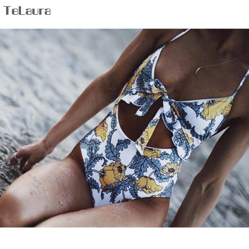 2018 Sexy Einem Stück Badeanzug Bademode Frauen Body Hohe Taille Badeanzug Vintage Strand Tragen Cut Out Monokini Badeanzug