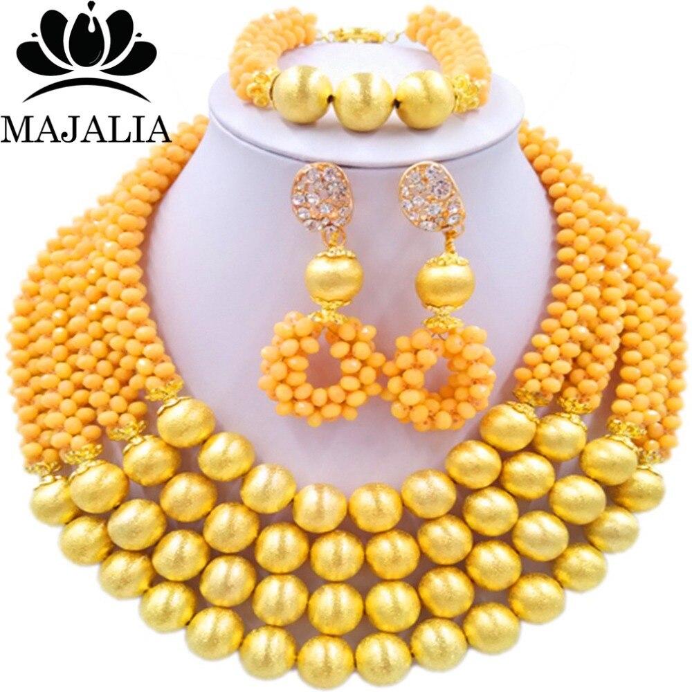 Majalia Fashion Beige Nigerian Wedding African Jewelry Set Crystal Necklace Bride Jewelry Sets Free Shipping 3LI004 majalia fashion beige nigerian wedding african jewelry set crystal necklace bride jewelry sets free shipping 3li004
