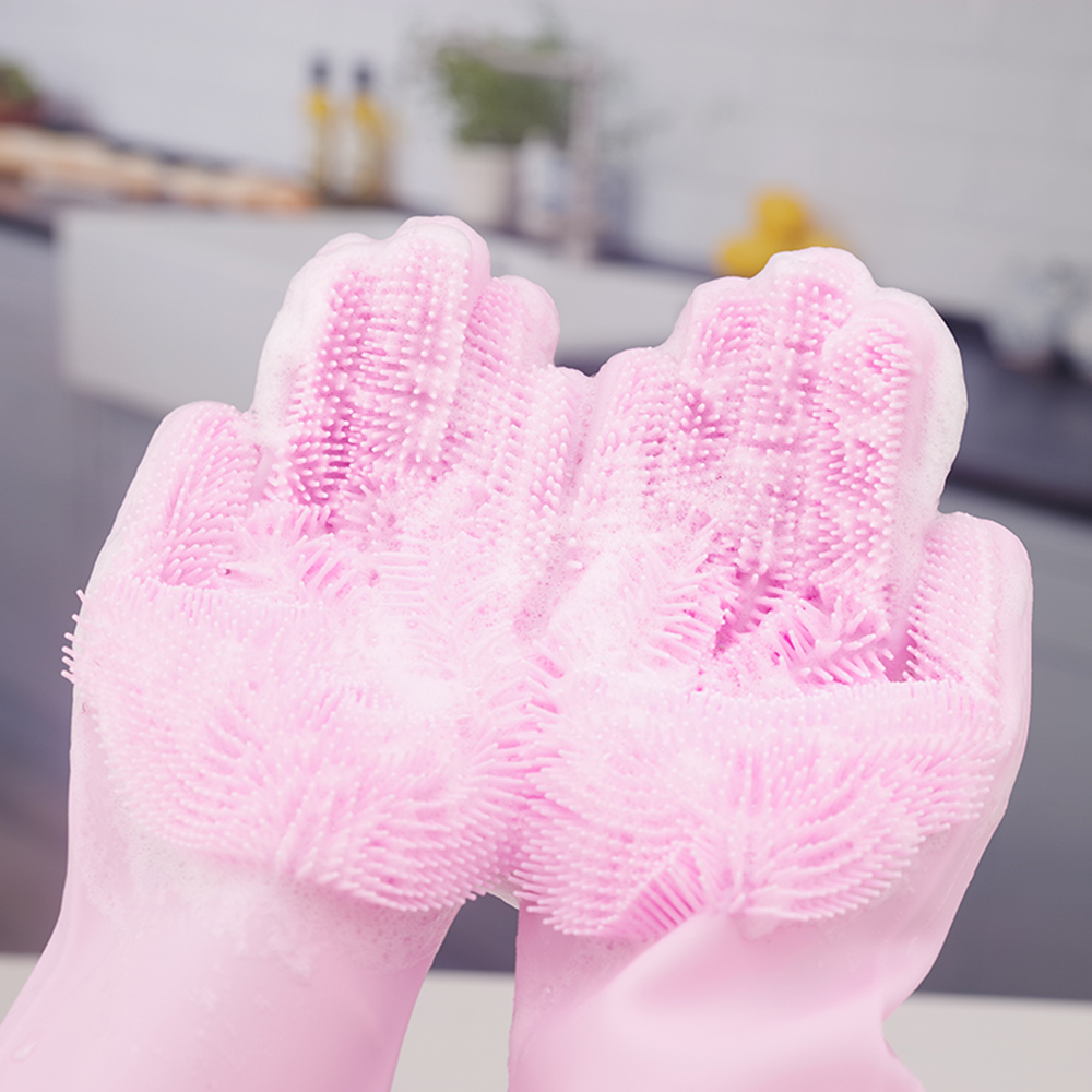 Clearance Sale1 Pair Magic Silicone Dish Washing Scrubber Cleaning Gloves Rubber Gloves Heat Resistant Household Kitchen Silicone Gloves