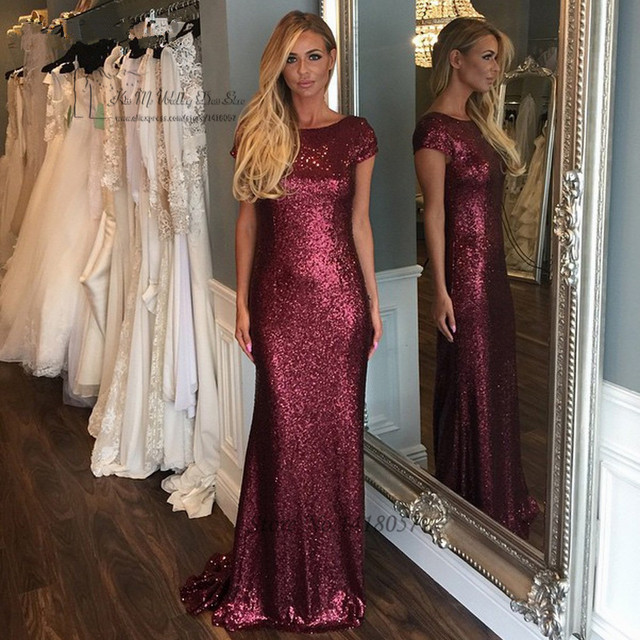 Plus Size Burgundy Sequin Bridesmaid Dresses Short Sleeve Mermaid Wedding  Party Dress Backless Formal Prom Gowns Vestido Longo 25aa6ae8954e