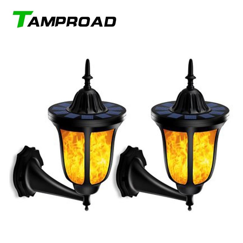 LED Solar Path Torch Dancing Flame Light Flickering Garden Corridor Outdoor Lamp
