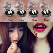 Clown Dress Vampire Teeth Halloween Dcoration Party Dentures Prop Vampire Zombie Devil Fangs Teeth With Dental Gum(China)